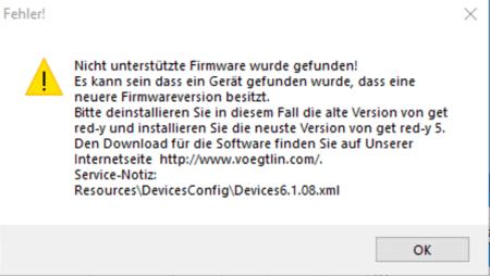 Software get red-y Fehlermeldung: Nicht unterstützte Firmware