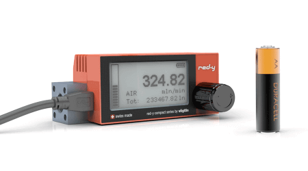 Battery Powered Digital Mass Flow Meters for Gases red-y compact series USB
