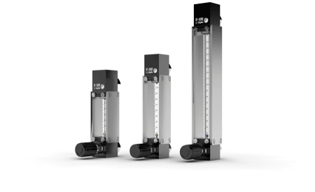 Variable Area Flowmeters (VA-Flowmeters) for Gases V-100 with 3 different tube sizes