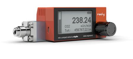 Digitale Massendurchflussmesser für Gase mit Batteriebetrieb, USB-Interface und Touch Anzeige