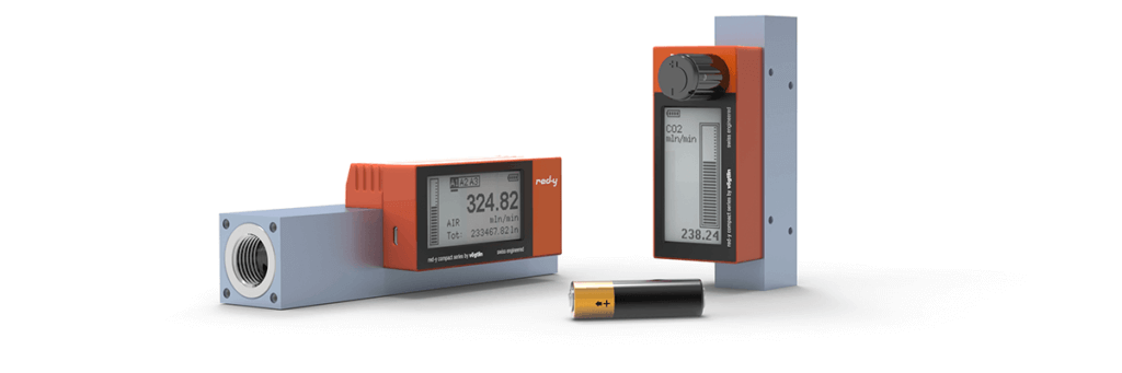 Battery Powered Digital Mass Flow Meters for Gases with Touch Display and USB-Interface